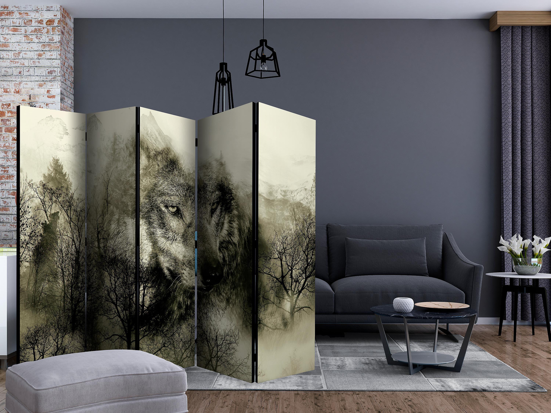 Paravent 5 volets - Mountain Predator (Beige) [Room Dividers]