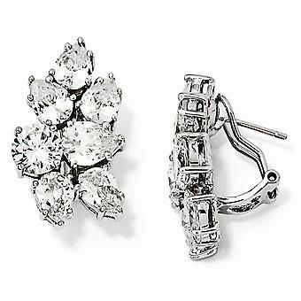925 Sterling Argent Rhodium plaqué CZ Cubic Zirconia Simulated Diamond Fancy Omega Back Boucles d'oreilles Bijoux Bijoux pour les femmes