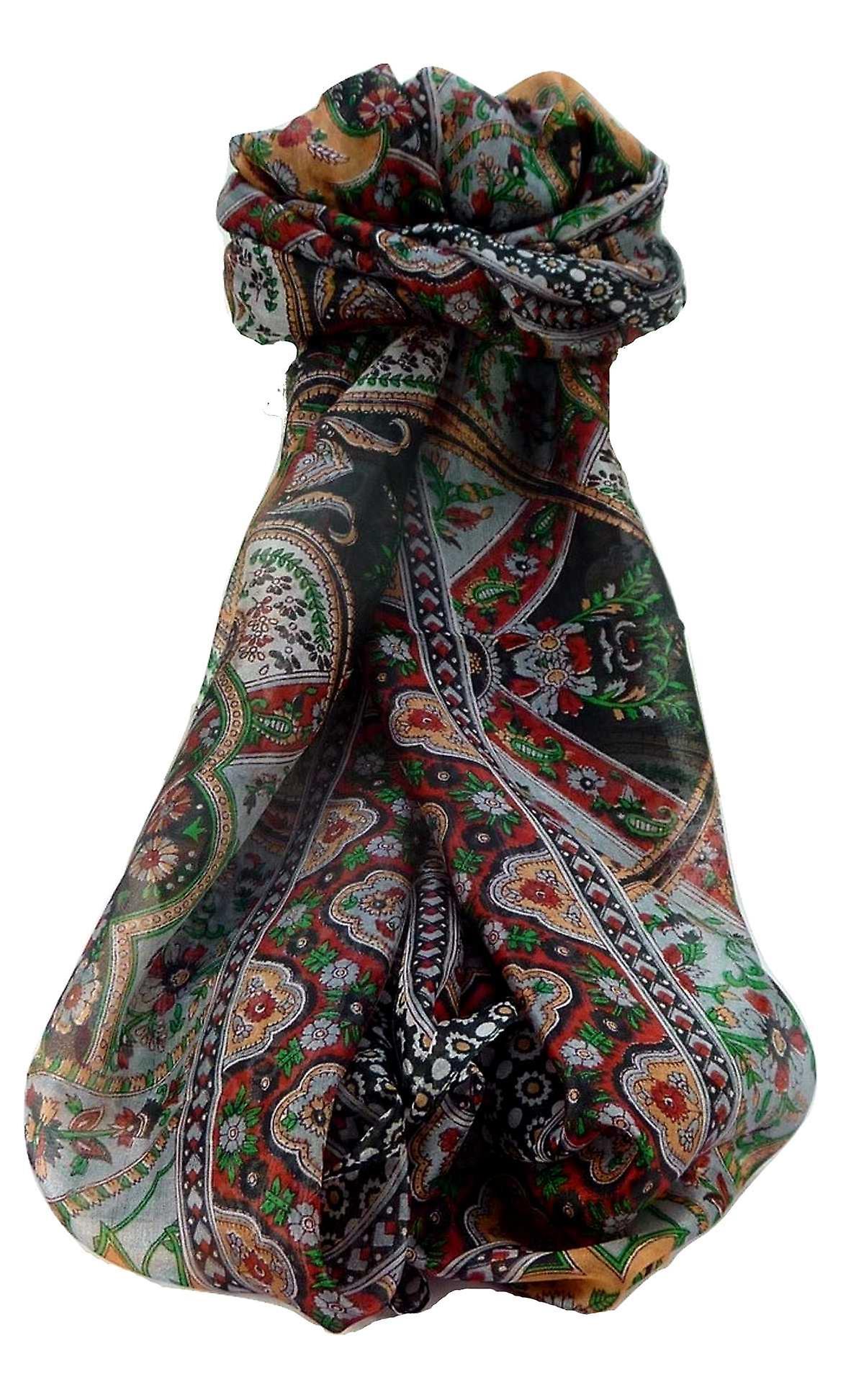 Mulberry Silk Traditional Long Scarf Kalyan Black by Pashmina & Silk