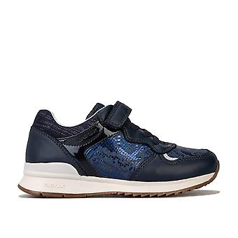 Infant Girls Geox Emmaisi Trainers In Navy- Hook And Loop Fastening- Elastciated