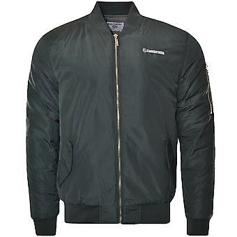 Lambretta Mens MA1 Casual Long Sleeve Full Zip Bomber Jacket Coat - Dark Grey