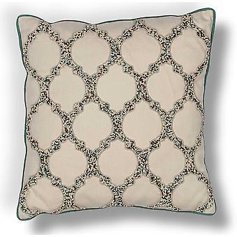 Exotic Square Beaded Quatrefoil Pillow