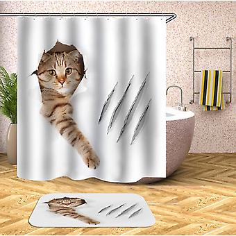 Scratching Cat Shower Curtain