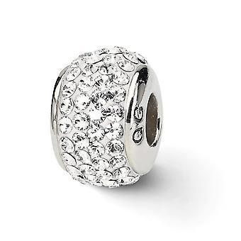 925 Sterling Silber poliert Reflexionen weiß voller Kristall Perle Anhänger Anhänger Halskette Schmuck Geschenke für Frauen