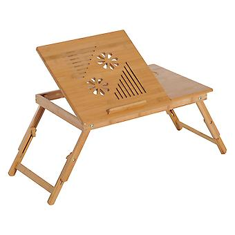 HOMCOM Portable Bamboo Laptop Desk Notebook Tray PC Bed Table with Drawer Adjustable & Foldable (55L x 35W x 22-30H (cm))