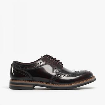 Base London Kent Mens Leather Brogue Shoes Hi Shine Bordo