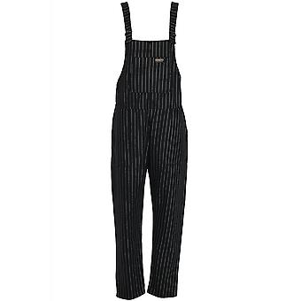 Run & Fly Black & White Pin Stripe Dungarees