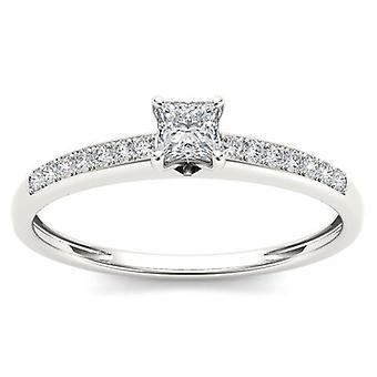 Igi certifierad 10k vitt guld 0,25 prinsessa diamant klassisk förlovningsring