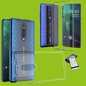 Voor Xiaomi Redmi 8 silicone case TPU transparant + 0,26 H9 glas Case cover cover