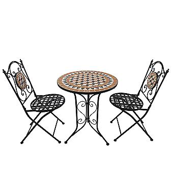 Outsunny 3 PCs Garden Mosaic Bistro Set Outdoor Patio 2 Folding Chairs & 1 Round Table  Outdoor Furniture Vintage