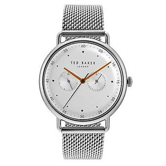 Ted Baker George Quartz Silver Dial Mesh Stainless Steel Bracelet Mens Watch TE50520007