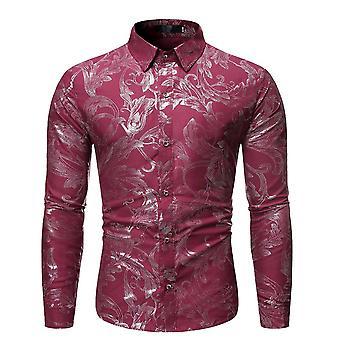 Allthemen miesten ' s kukka paita hopea kuviollinen tulosta pitkähihainen mekko paidat