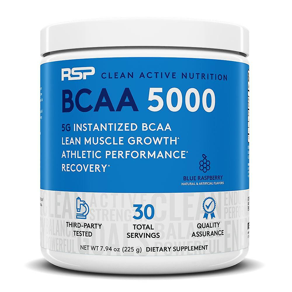 Rsp bcaa 5000, lean muscle growth, endurance, muscle recovery, bcaa powder (blue raspberry, 30 servings)