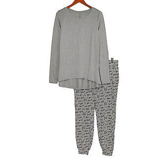 Noen Kvinner's Koselig Strikke Nyhet Print Pyjamas Sett Grå A296084