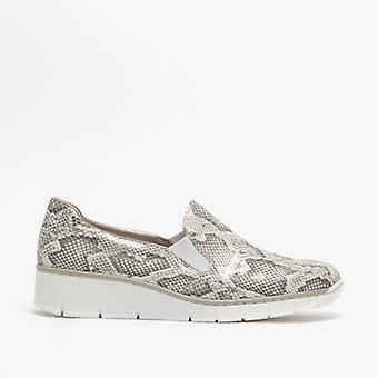Rieker 53766-40 Damen Slip On Schuhe Weiß/grau Schlange