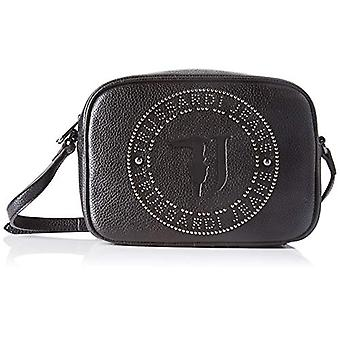 Trussardi Jeans Harper Camera Case Tumbled Eco Black Woman Shoulder Bag (Blac/Gunmetal) 15x7x21 cm (W x H x L)