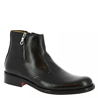 Men's handmade classy ankle boots in black calf leather with side zip