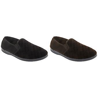 Zedzzz Mens Kevin Velour Twin Gusset Slippers
