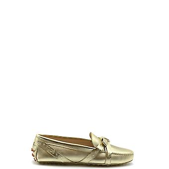 Tod's Ezbc025088 Women's Gold Leather Flats
