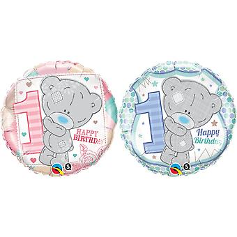 Qualatex 18 Inch Me To You Tatty Teddy Happy 1st Birthday Circular Foil Balloon
