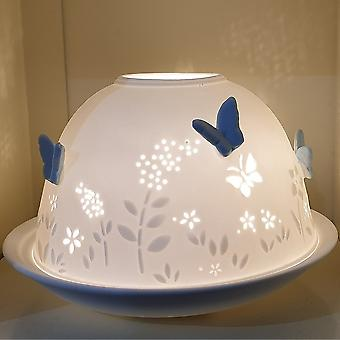 Nordic Lights Blue Butterfly Tealight Candle Shade & Tray