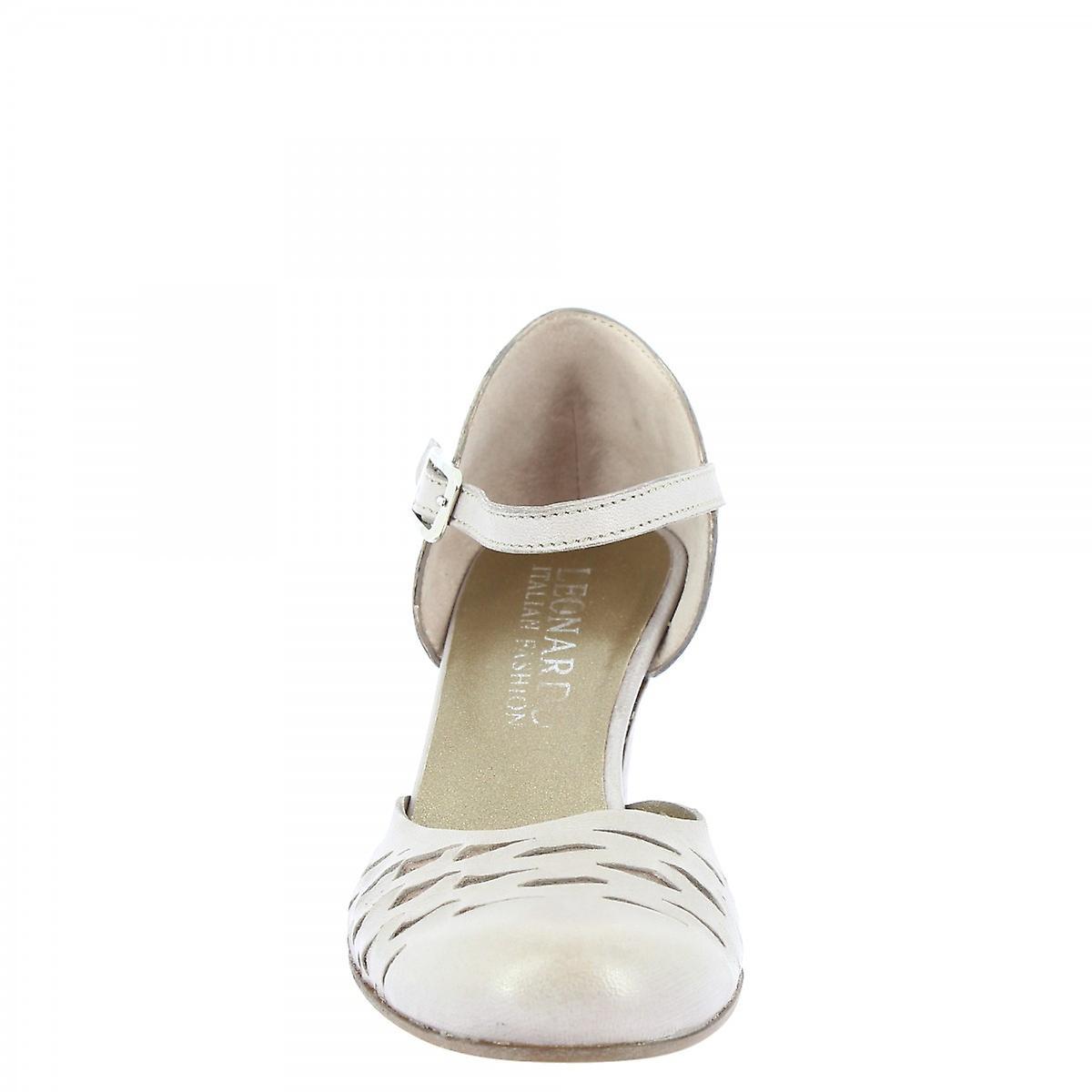 Leonardo Shoes Women's handmade dance mid heels pumps pearl gray napa leather