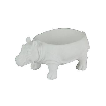White Sandstone Finish Hippopotamus Decorative Bowl