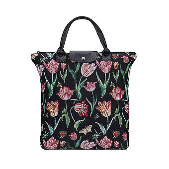 Marrel's tulip black foldaway shopping bag by signare tapestry / fdaw-jmtbk