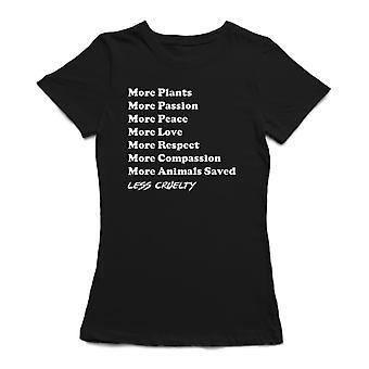 «Plusieurs plantes, paix, amour, animaux sauvés. Moins de cruauté» cite T-shirt des femmes