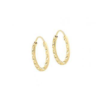 Eternity 9ct Gold Small Kids/Babies Diamond Cut Hoop Earrings