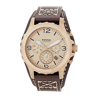 Fossil JR1495 Nate Gold-tone Chronograph 50mm Case Brown Leather Men's Watch
