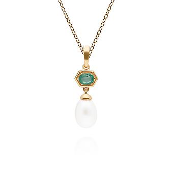 Modern Pearl & Emerald Hexagon Drop Pendant Necklace in Gold Plated Sterling Silver 270P030203925
