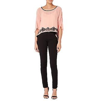 Pink embroidered kaftan top