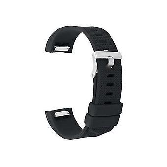 Watch strap for fitbit charge black silicone rubber sizes small and large