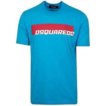 DSQUARED2 ターコイズ プリント ロゴ T シャツ