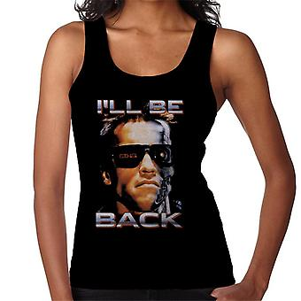 The Terminator Arnie Close Up Glasses Ill Be Back Women's Vest