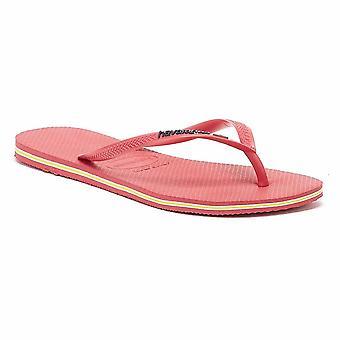 Havaianas Slim Brasil Logo Womens Flamingo Pink Flip Flops