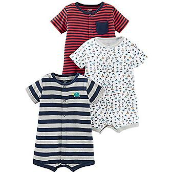 Simple Joys by Carter's Baby Boys' 3-Pack Snap-up Rompers, Red Stripe/White S...