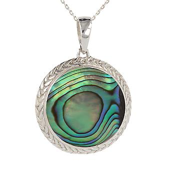 ADEN 925 Sterling Silver Abalone Mother-of-pearl Round Shape Pendant Necklace (id 3796)