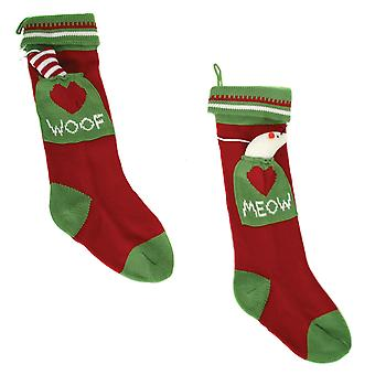 Woof Meow Dog Cat Family Pets Knit Christmas Holiday Stockings Set of 2