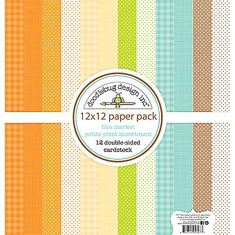Doodlebug Design Flea Market 12x12 Inch Swiss Dot Petite Print Paper Pack