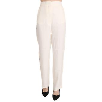 White High Waist Straight Cut Dress Trouser Pants -- PAN7218480