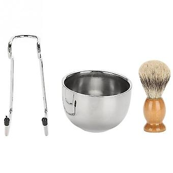 Professional, Stainless Steel Bowl, Brush And Stand For Beard Shaving