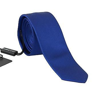 Dolce & Gabbana Blue Silk Solid Slim Tie KRA134