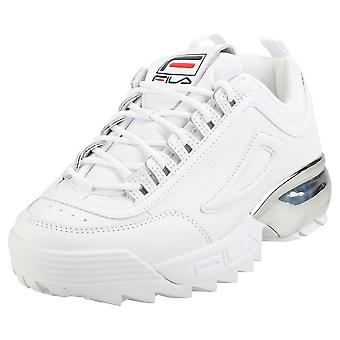 Fila Disruptor 2a Chrome Womens Fashion Trainers in White Navy Red