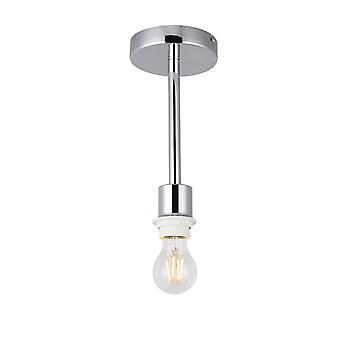 Inspiriert Deco - Baymont - poliert Chrom 1 Licht E27 Universal Semi Flush Deckenleuchte, geeignet für eine große Auswahl an Schattierungen