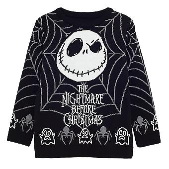 Disney The Nightmare Before Christmas Jack Spider Web Girls Knitted Jumper | Official Merchandise