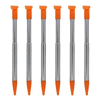 Replacement slot in metal extendable stylus pens for nintendo 2ds xl - 6 pack orange