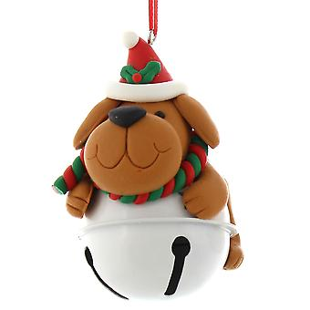 Single 9cm Jingle Bell Hanging Ornament - Dog Design
