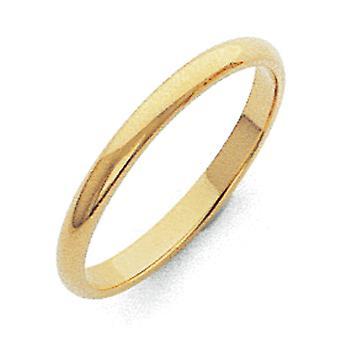 10k Sólido Polido Meia Rodada 2mm Meia Rodada Anel de Joias para Mulheres - Tamanho do anel: 4 a 8